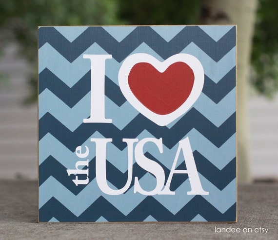 I heart the USA, Patriotic, 4th of July board - 10x10