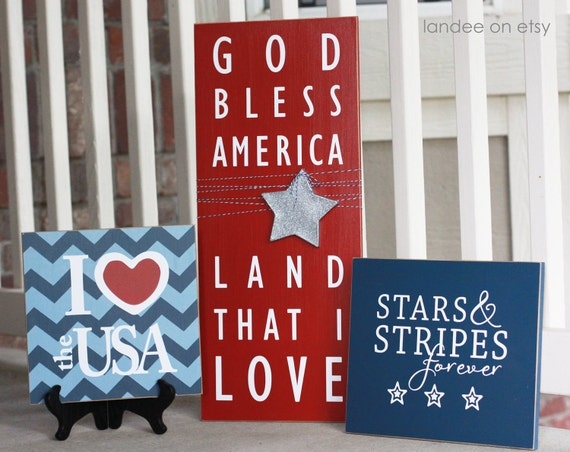 4th of July, Patriotic, God Bless America  - 3 board collection