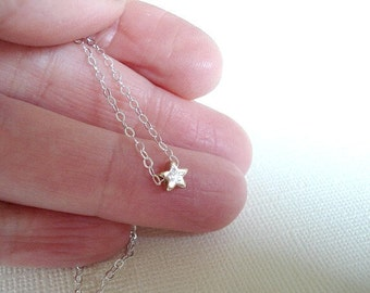 Star Necklace Gold Star Pendant Floating Star Necklace Sterling Silver Chain Star Jewelry
