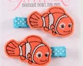 Nemo Felt Hair Clip Clippie 2-pack Embroidered Finding Nemo Disney