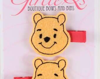 Winnie the Pooh Felt Hair Clip 2-pack Embroidered