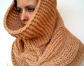 Bell Big Cowl Super Soft Virgin Wool Neckwarmer  Chunky Texture Fashion Camel Color Cabled Big Cowl UNIQUE PIECE