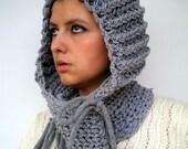 Knight Knit Hood Super soft Virgin  wool Unisex Hood GreyChunky Hoodie