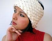 Shirley White Cream Double Spirit  Knit Headband Super soft Warm Woman Reversible Chunky Headband