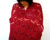 SSALE Monique  Dark Red Lace Wrap Hand Knit  Stole Woman Trendy Shoulder Wrap