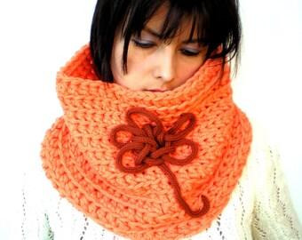 SALE Sunshine Flower Cowl Fashion Crochet Chunky Cowl Super Soft Wool Neckwarmer Woman Orange Cowl