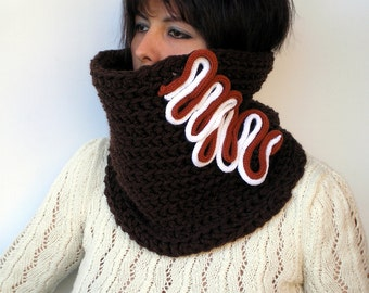 SALE Fantasy Chocolate  Cowl Fashion Crochet Chunky Cowl Super Soft Neckwarmer   Blue Cowl