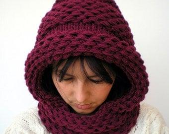 Weave Pixie Bordeaux Knit Hood Mixed   wool Woman   Hooded Cowl Chunky Hoodie