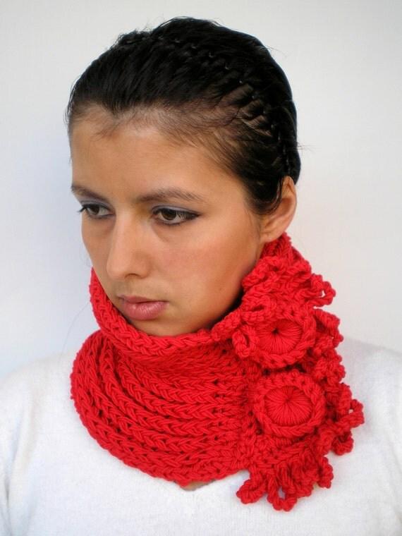 SALE Twin Red Cowl Pure Baby Super Soft Merino Wool Neckwarmer Woman Cowl