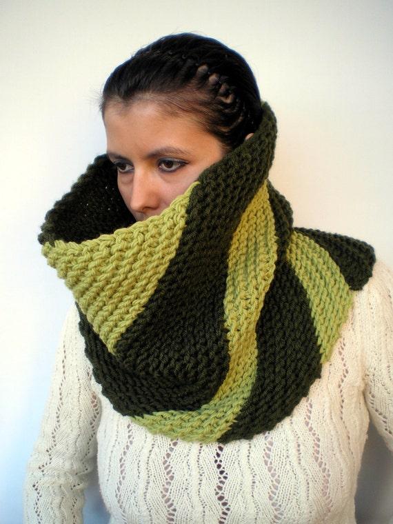 SALE Double Green Oblique Greta Fashion   Cowl Super Soft Wool Neckwarmer Unisex Chunky Fashion Cowl