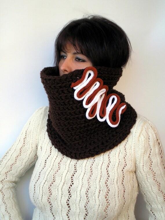 SALE Fantasy Chocolate  Cowl Fashion Crochet Chunky Cowl Super Soft Neckwarmer   Blue Cowl