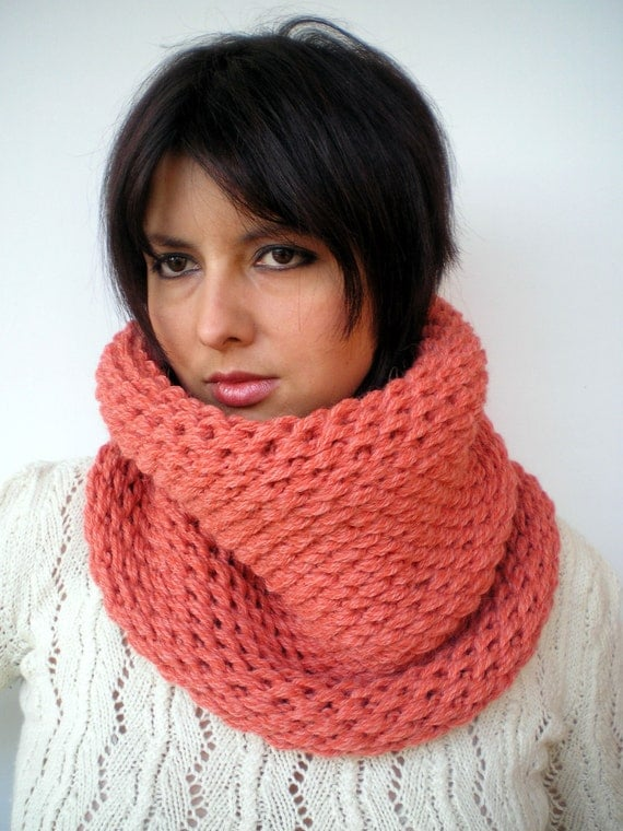 Lobster Double Spirit Cowl Super Soft  Alpaca Wool Neckwarmer Unisex Double Face Reversible Big  Chunky Cowl