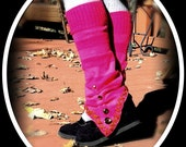 Upcycled Pink Striped Leg Warmers