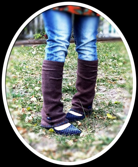Steampunk inspired upcycled brown leg warmers/gaiters