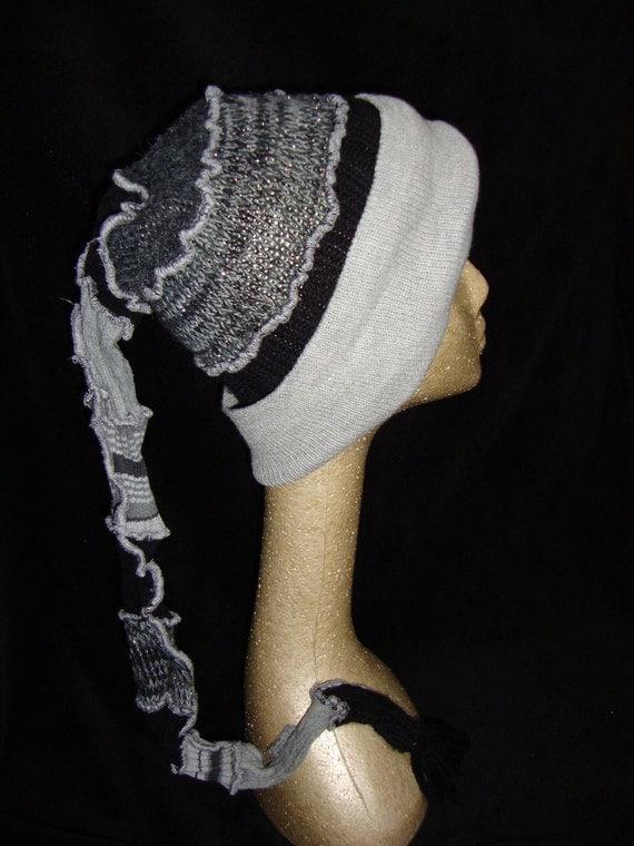 Toboggan Elf Upcycled OOAK Black Gray --WINTER CLEARANCE--