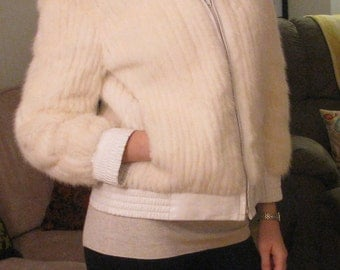 Reversible White Mink and Leather Jacket Size S