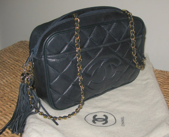 Vintage Navy Blue Chanel bag. 100% Authentic.