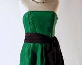 Christian Dior original - Paris boutique - 1980s elegant cocktail strapless dress in deep forest green
