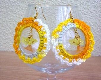 White yellow orange crochet earrings