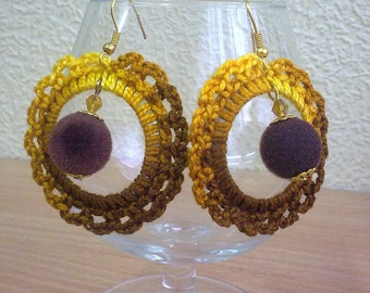 Yellow brown crochet earrings.
