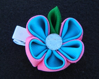 Pink and Turquoise...Kanzashi Flower Hairclip