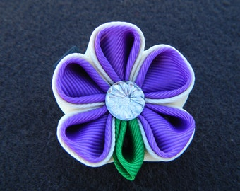 Purple and Off White...Kanzashi...Flower Hairclip