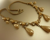 Vintage Czech Pearl and Rhinestone Downton Abbey Necklace