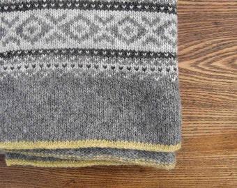 Fair Isle Knitted Blanket Pure Wool