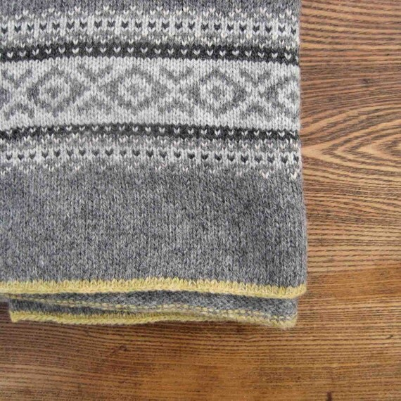 Fair Isle Knitted Blanket Pure Wool