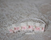 Gorgeous newborn headband Ruffled Pearls and Lace victorian style in pink and creme