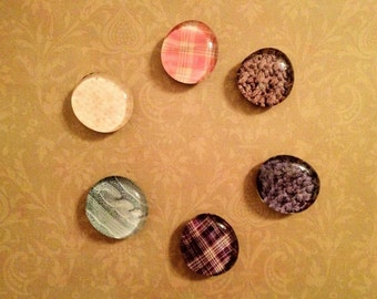 Jumbo Glass Magnets (6 pack) - Cozy Textile Assortment