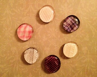 Jumbo Glass Magnets (6 pack) - Textile Assortment