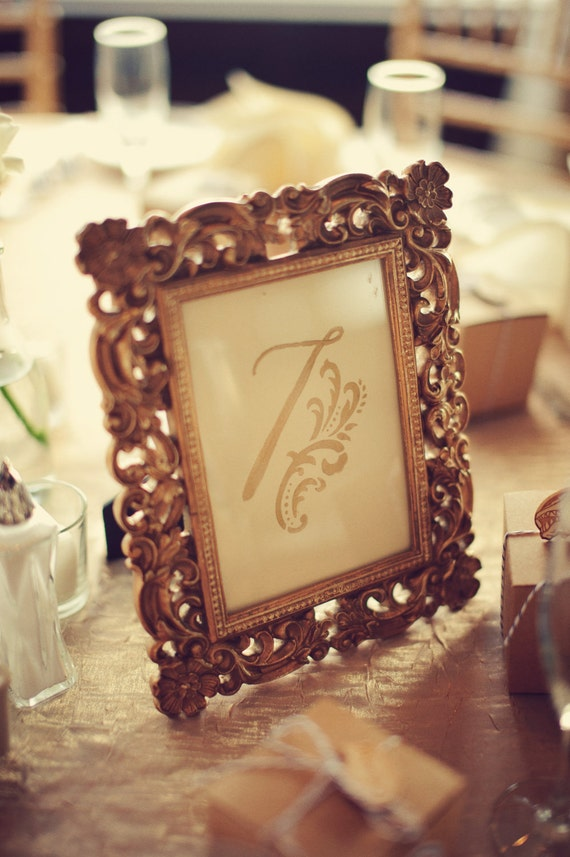 Gold Table Numbers for Vintage Wedding - Set for 10 Tables