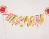 Shabby Chic Ribbon and Fabric Bunting Cake Topper with Paper Flower Accents : Summer Bright Hot Pink Cream Yellow Lime Green White
