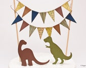 Dinosaur Cake Bunting with T-Rex and Brontosaurus Toppers : Green, Brown, and Blue