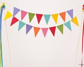 Fun and Festive : Colorful Candy Rainbow Lacy Bunting Flag Cake Topper with Ribbon Accents - Red Pink Orange Yellow Green Blue Purple