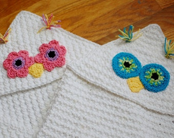 Crochet Pattern - Owl Hooded Baby Towel (also makes a great hooded blanket) - Immediate PDF Download