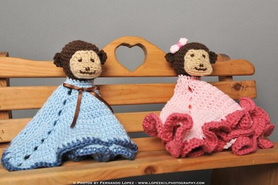 Crochet Pattern - Monkey Lovey with Blanket Body - Immediate PDF Download