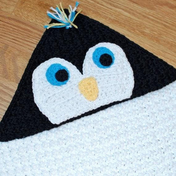 Crochet Pattern - Penguin Hooded Baby Towel (also makes a great blanket) - Immediate PDF Download