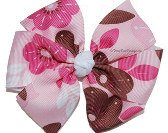 """Brown and Pink Flower Print Pinwheel Hair Bow - 4.5"""" RoseyBow® - Floral Ribbon Boutique Hair Bow - Pink and Brown Flower Hair Bow"""
