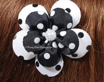 Black and White Polka Dot Flower Hair Bow - 3.5 - Polka Dot  RoseyBow® Flower Hair Clippie with Center Embellishment