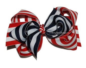 "Red White and Blue Striped Hair Bow - 4.5"" - Red, White and Blue RoseyBow® Hair Bow - 4th of July Striped Twisted Boutique Bow"