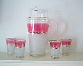 RESERVED for Eli   Vintage Pink and Gold Lemonade Pitcher & Glases