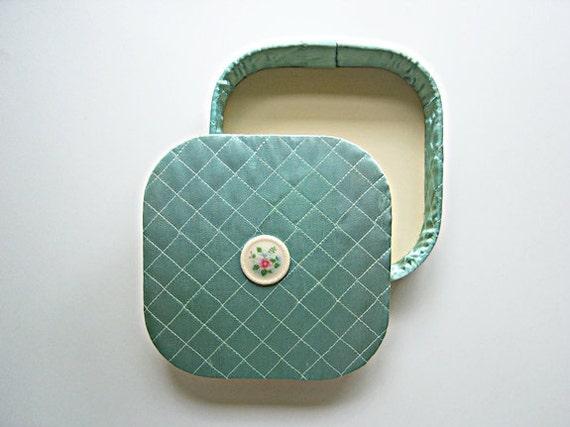 Vintage Quilted Sea foam Handkerchief Box