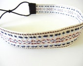 Cream, Blue, and Red Woven Headband