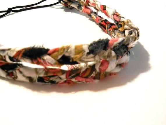 Red-Orange, Black, and White Braided Fabric Headband
