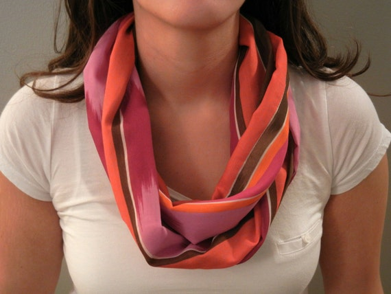 Pink, Orange, and Brown Infinity Scarf