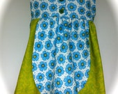 Clearance Sale - Boutique styled petal dress - size 2t - Green and blue