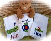 Burp Cloths - Golf Ball, Putting Green, Golf Bag - Personalized Set of 3