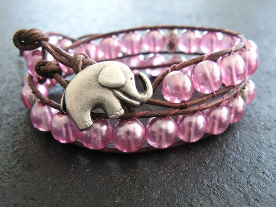Leather Wrap Bracelet, Double Wrap, Leather Jewelry, Elephant Button, Valentine Gift, Pink Leather Wrap, Pink Leather